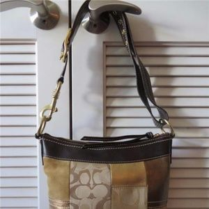 COACH Bags - COACH PATCHWORK BROWN,TAN SUEDE/GOLD LEATHER BAG**